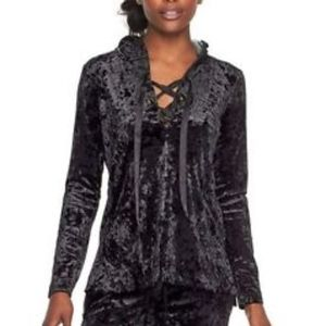 Juicy Couture Black Velvet Lace Up Hoodie